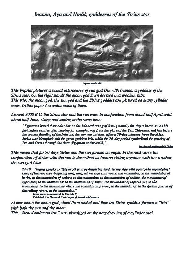 PDF) Inanna, Aya and Ninlil