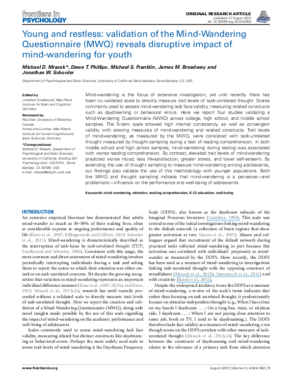 Study Wandering Pervasive Problem For >> Pdf Young And Restless Validation Of The Mind Wandering