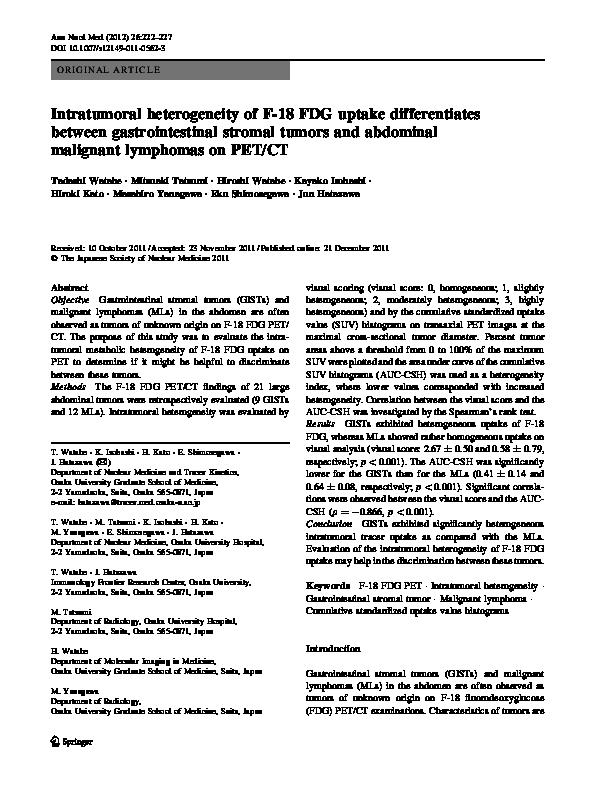 Pdf Intratumoral Heterogeneity Of F 18 Fdg Uptake Differentiates Between Gastrointestinal Stromal Tumors And Abdominal Malignant Lymphomas On Pet Ct Hiroshi Watabe Academia Edu