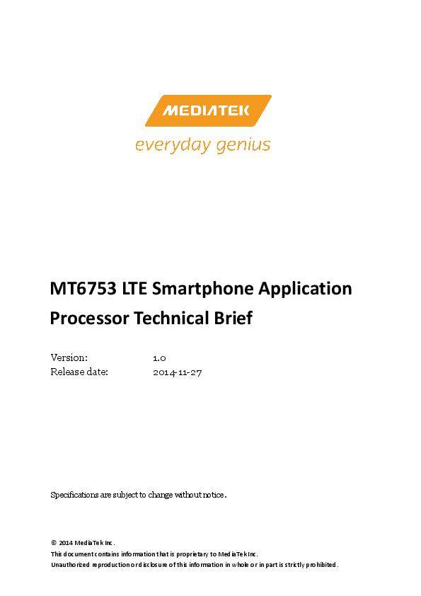 PDF) MT6753 LTE Smartphone Application Processor Technical