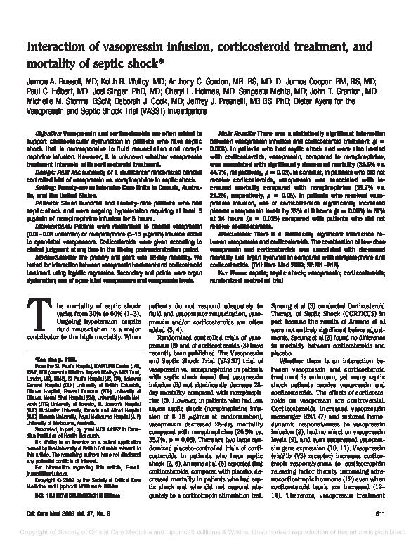 PDF) Interaction of vasopressin infusion, corticosteroid