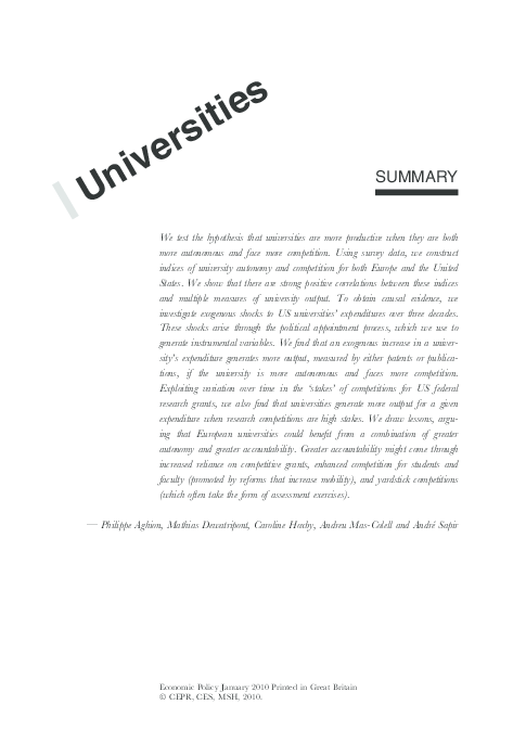 PDF) The governance and performance of universities