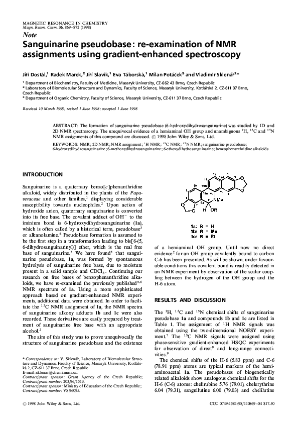 PDF) Sanguinarine pseudobase: re-examination of NMR assignments