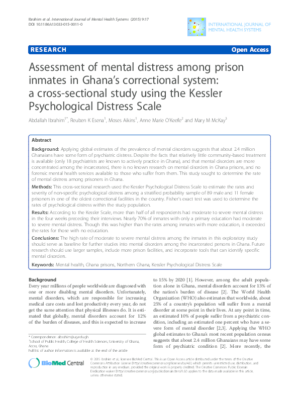 Assessment of mental distress among prison inmates in