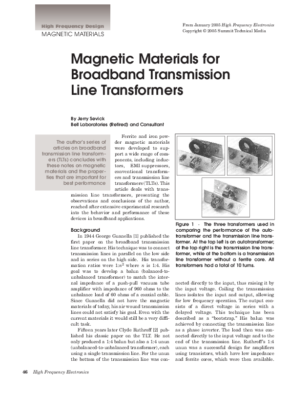 PDF) Magnetic Materials for Broadband Transmission Line