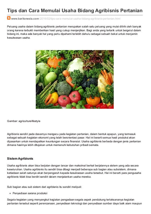 Tips Dan Cara Memulai Usaha Bidang Agribisnis Pertanian Agritani