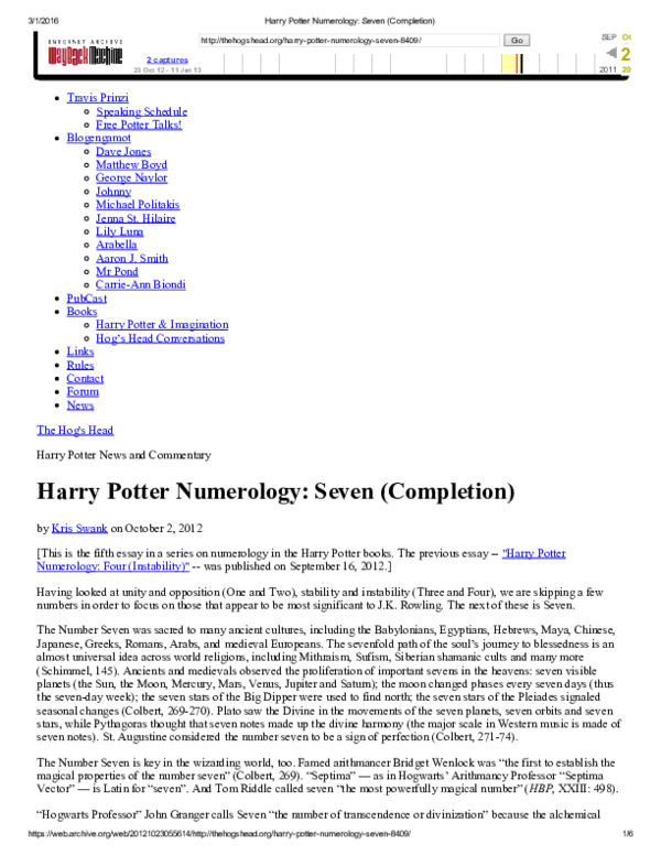PDF) Harry Potter Numerology: Seven (Completion) | Kris Swank