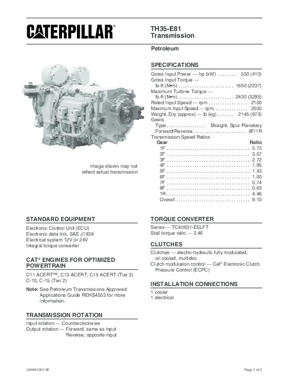 CAT ® ENGINES FOR OPTIMIZED POWERTRAIN | Daniel Domínguez - Academia edu