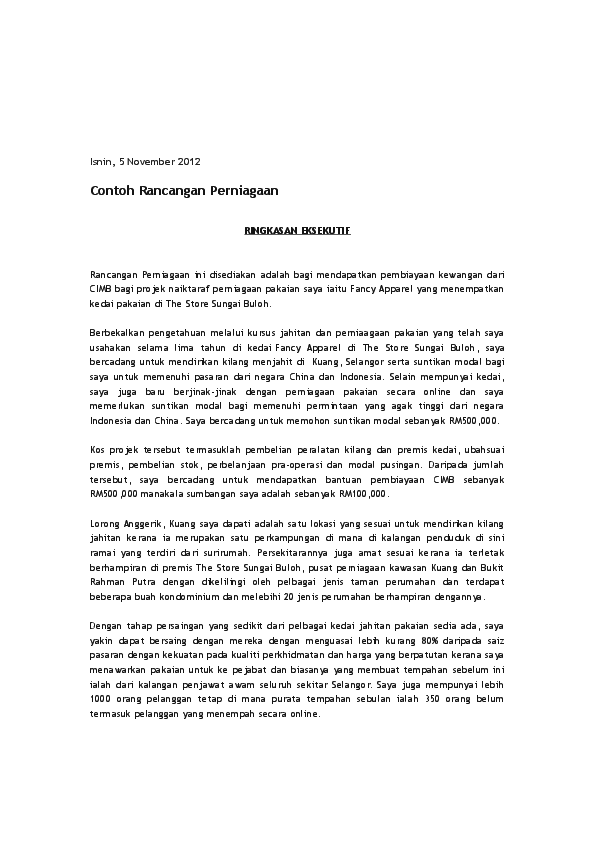 Doc Cth Rancangan Perniagaan Mohd Faiz Ayob Academia Edu
