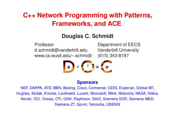 PDF) C++ Network Programming with Patterns, Frameworks, and