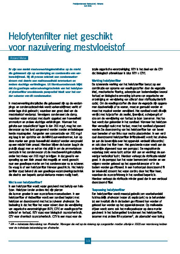 Pdf Helofytenfilter Niet Geschikt Voor Nazuivering