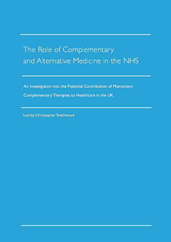 PDF) The Role of Complementary and Alternative Medicine in