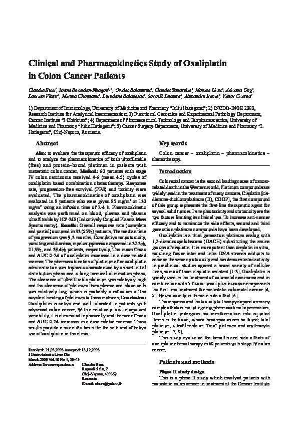 Pdf Clinical And Pharmacokinetics Study Of Oxaliplatin In Colon Cancer Patients Burz Claudia Alexandru Irimie And Monica Ursu Academia Edu
