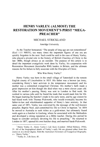 PDF) Henry Varley: (Almost) The Restoration Movement's First
