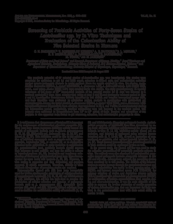 PDF) Screening of Probiotic Activities of Forty-Seven