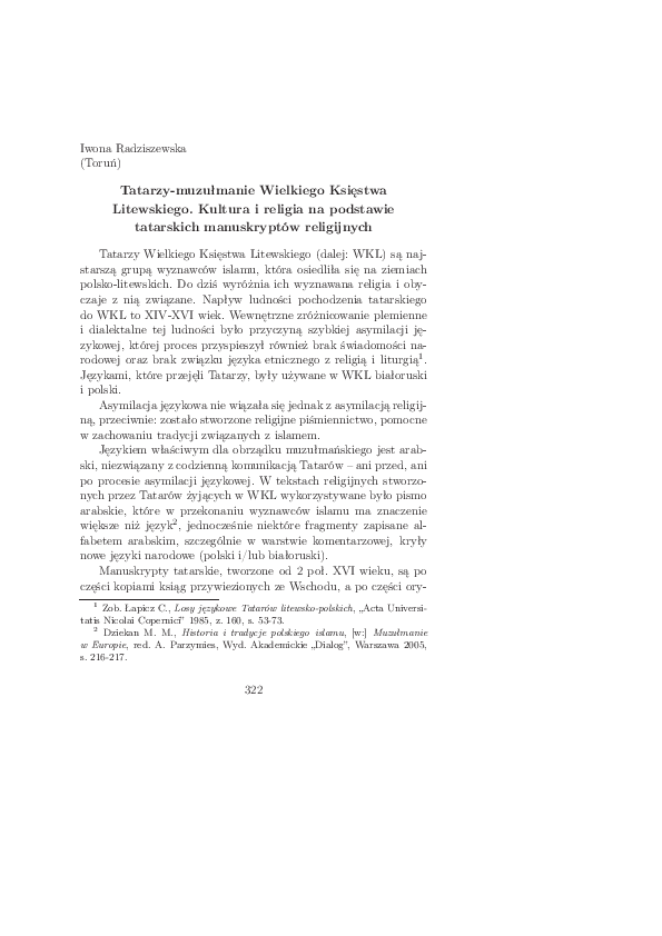 Pdf Tatarzy Muzułmanie Wielkiego Księstwa Litewskiego
