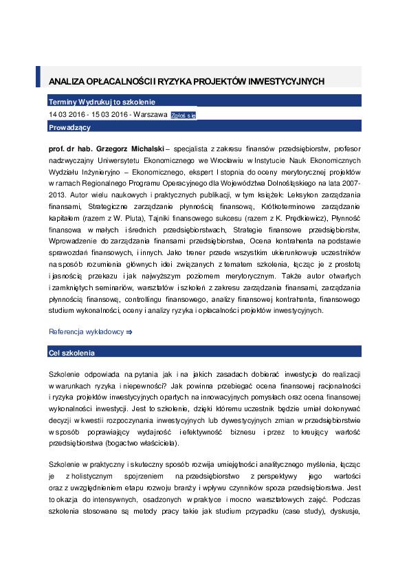 ade75bda92d38c PDF) ANALIZA OPŁACALNOŚCI I RYZYKA PROJEKTÓW INWESTYCYJNYCH ...