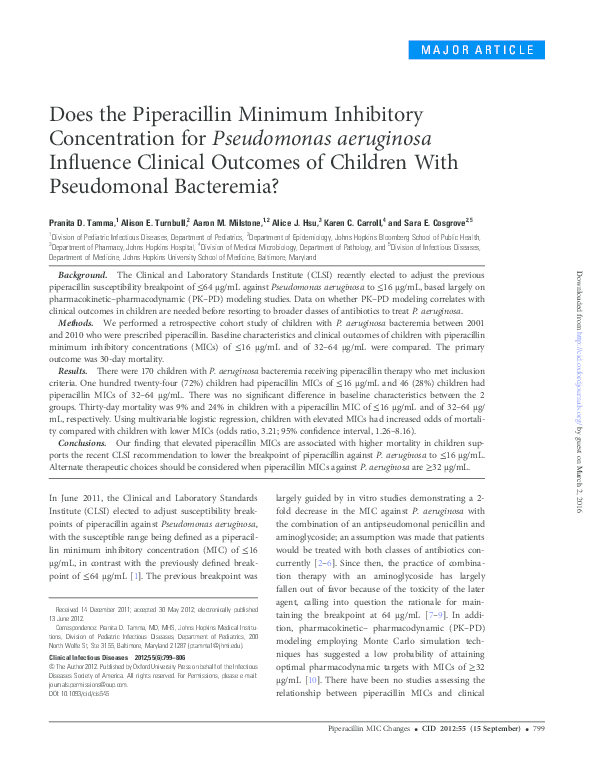 PDF) Does the Piperacillin Minimum Inhibitory Concentration