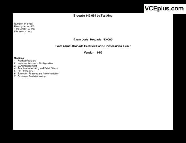 Brocade Testking 143 085 v2015 07 30 by Dumps 65q | Siva