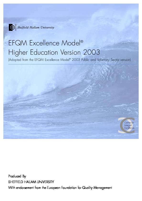 Pdf model efqm excellence