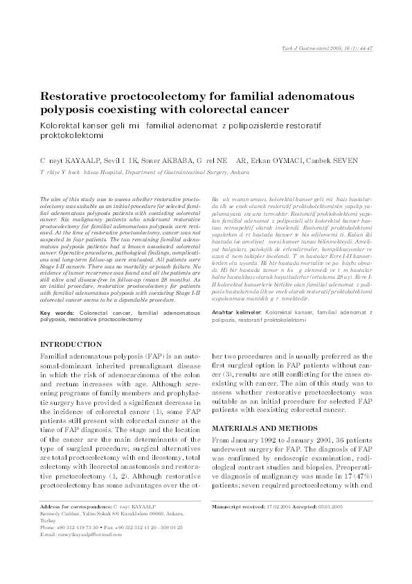 Pdf Restorative Proctocolectomy For Familial Adenomatous Polyposis Coexisting With Colorectal Cancer Sevil Isik Academia Edu