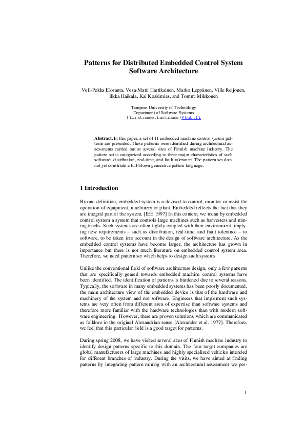 Pdf Patterns For Distributed Embedded Control System Software Architecture Kai Koskimies And Ville Reijonen Academia Edu