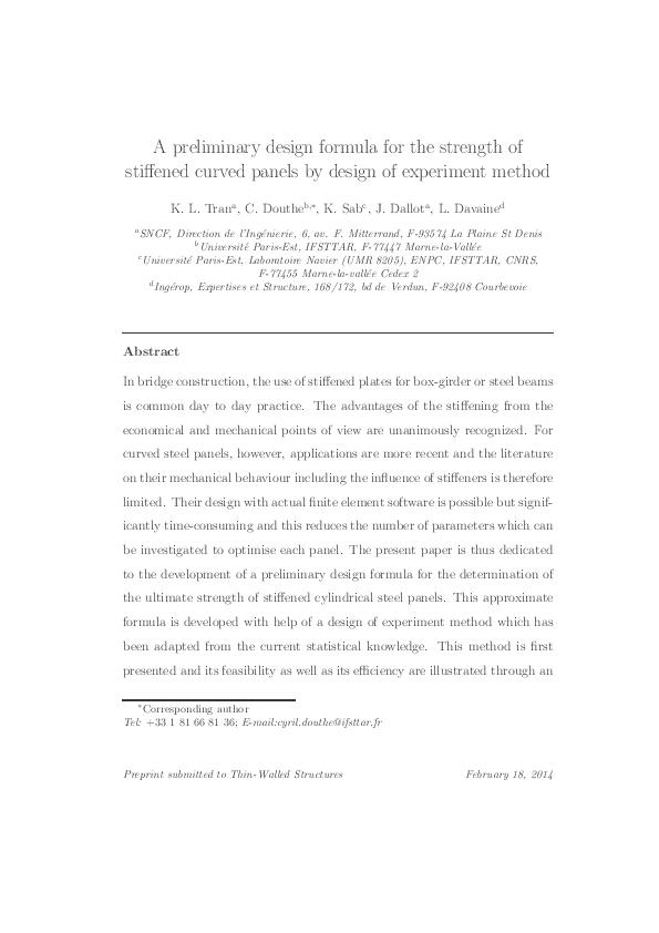 PDF) A preliminary design formula for the strength of
