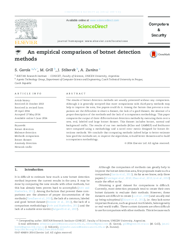 PDF) An empirical comparison of botnet detection methods | Sebastian