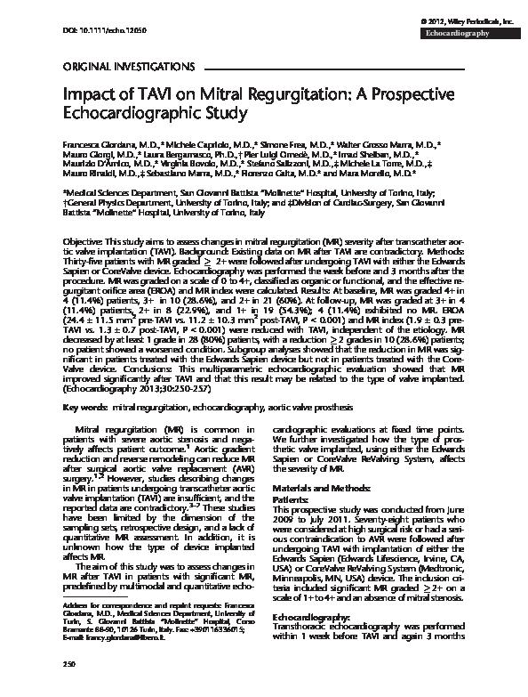 PDF) Impact of TAVI on Mitral Regurgitation: A Prospective