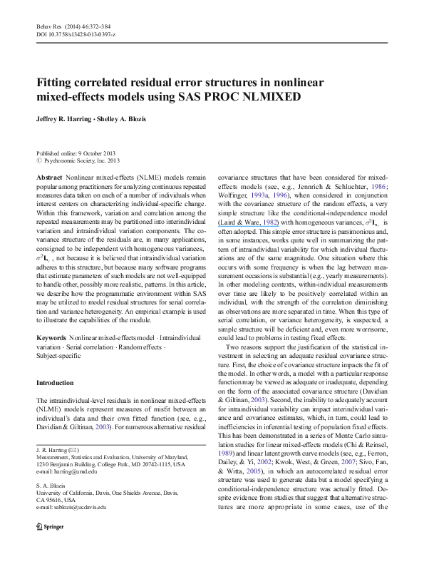 PDF) Fitting correlated residual error structures in