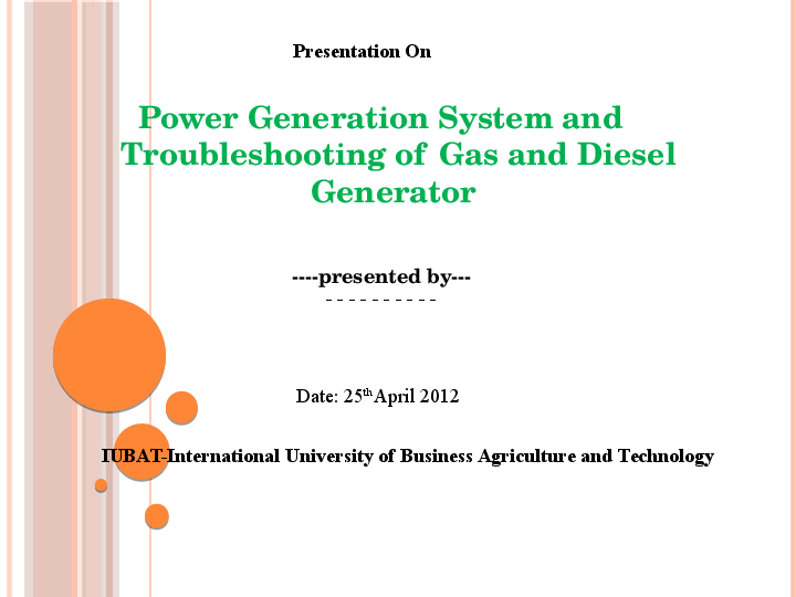 PPT) Power Generation System and Troubleshooting of Gas and