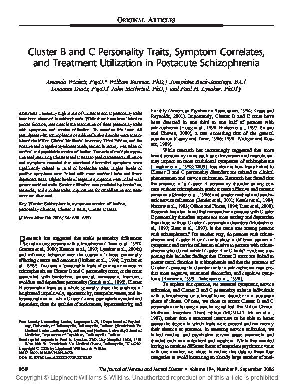 PDF) Cluster B and C Personality Traits, Symptom Correlates