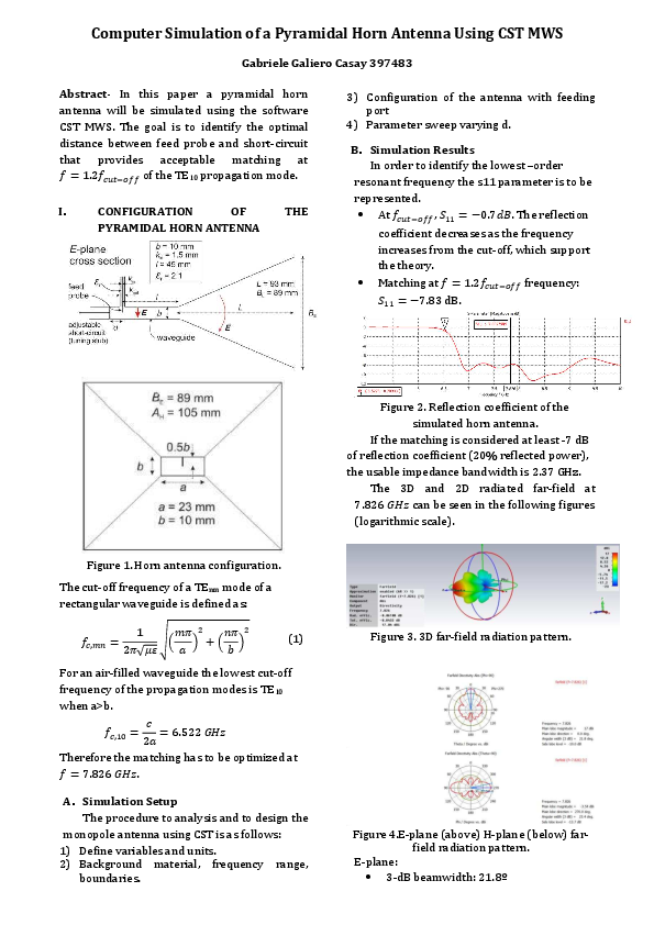 Pdf Computer Simulation Of A Pyramidal Horn Antenna Using Cst Mws Gabriele Galiero Casay Academia Edu