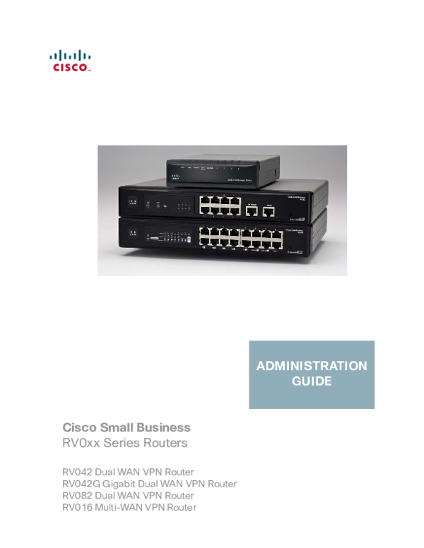 PDF) Cisco Small Business RV0xx Series Routers RV042 Dual
