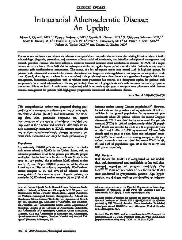 PDF) Intracranial atherosclerotic disease: An update | Robert Taylor
