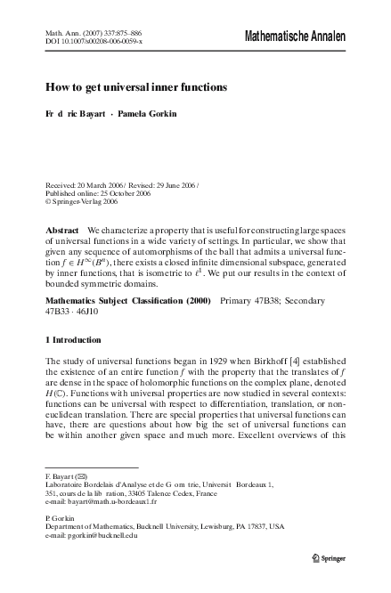 PDF) How to get universal inner functions | Pamela Gorkin
