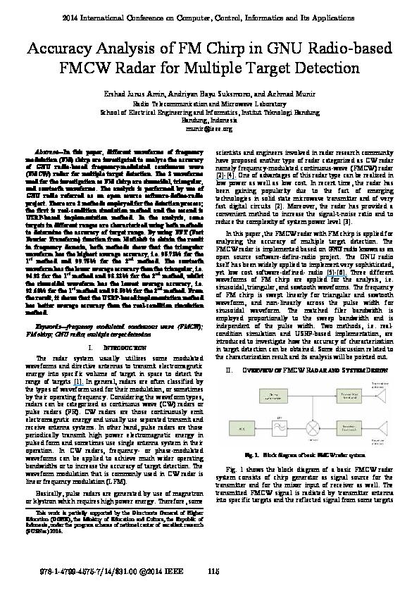 PDF) Accuracy Analysis of FM Chirp in GNU Radio-based FMCW Radar for