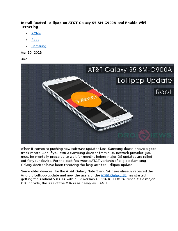 DOC) Install Rooted Lollipop on AT&T Galaxy S5 SM-G900A and