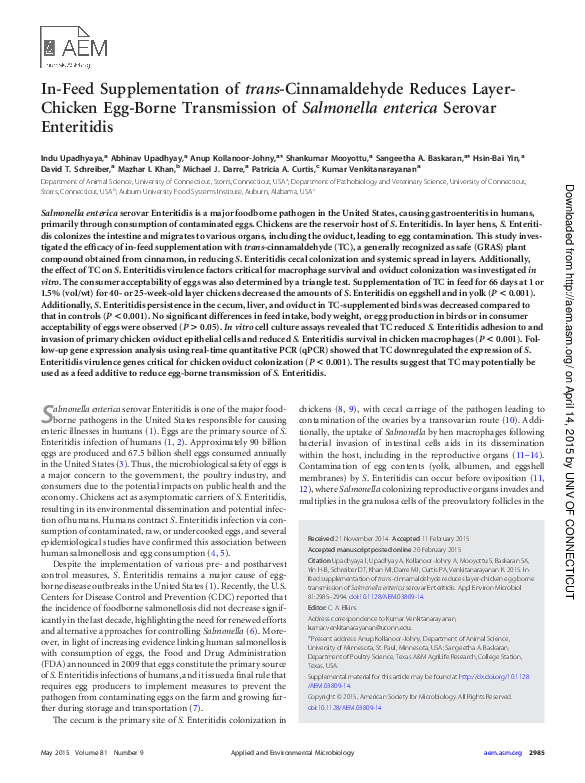 PDF) In-feed supplementation of trans-cinnamaldehyde reduces