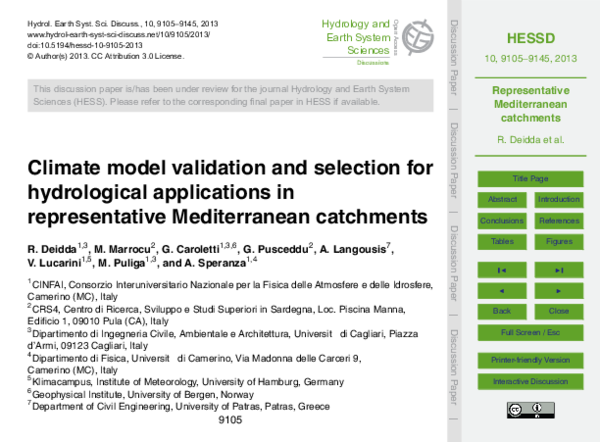PDF) Climate model validation and selection for hydrological