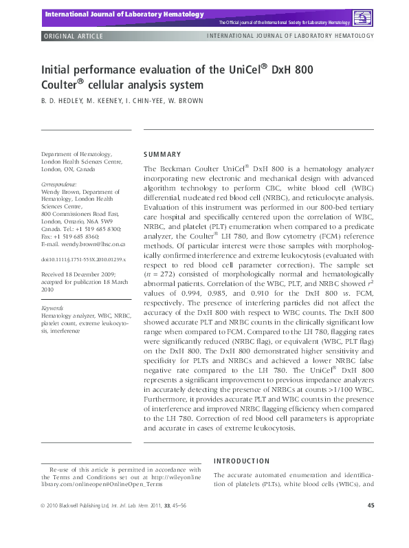 PDF) Initial performance evaluation of the UniCel® DxH 800