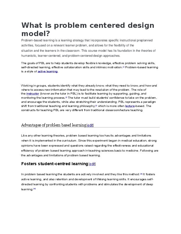 DOC) What is problem centered design model | Abby Arce