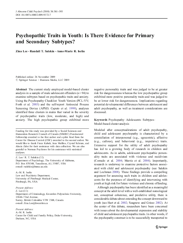 PDF) Psychopathic Traits in Youth: Is There Evidence for
