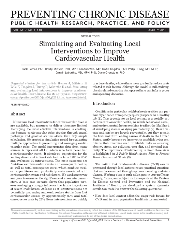 PDF) Simulating and Evaluating Local Interventions to