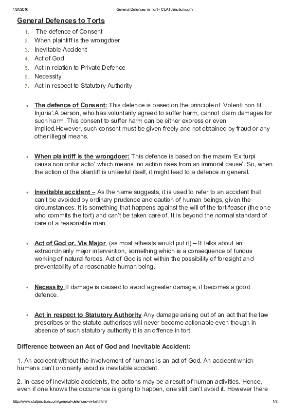PDF) General Defences to Torts   harsha sajeev - Academia edu