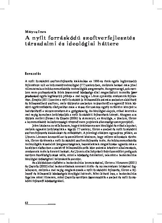 fdd435edfe A nyílt forráskódú szoftverfejlesztés társadalmi és ideológiai háttere |  Imre Mátyus - Academia.edu