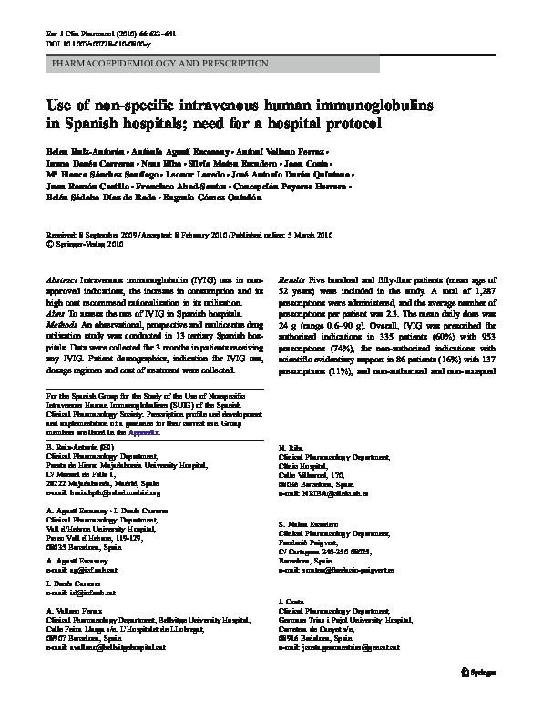 PDF) Use of non-specific intravenous human immunoglobulins