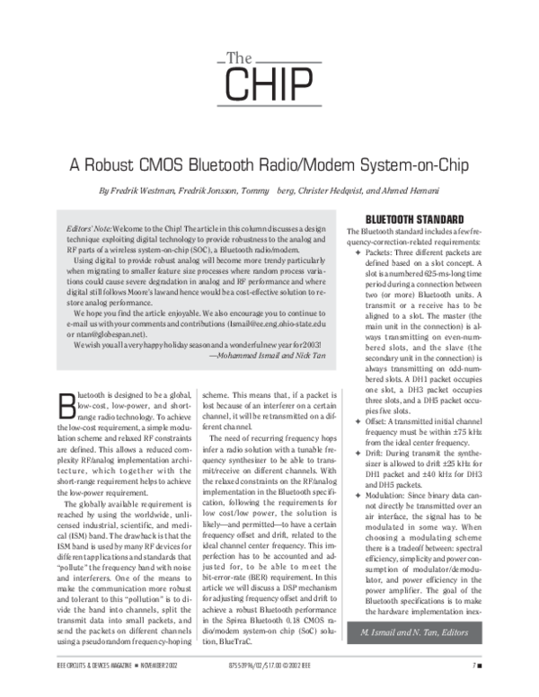 PDF) A robust CMOS Bluetooth radio/modem system-on-chip | Ahmed