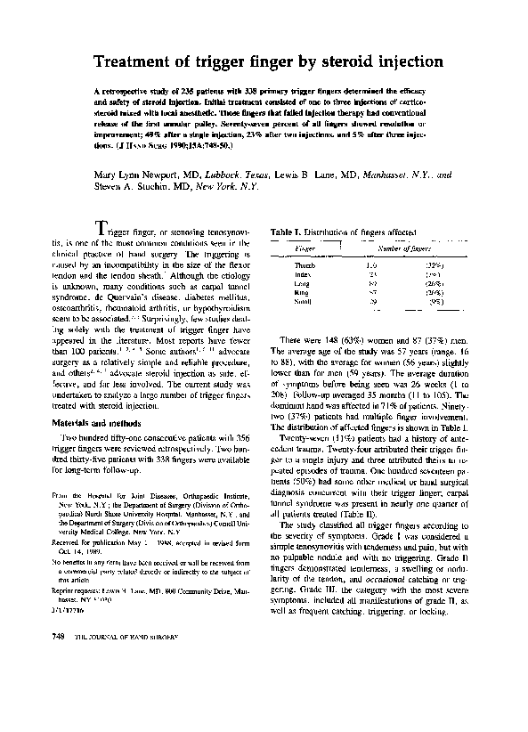 Pdf Treatment Of Trigger Finger By Steroid Injection Steven