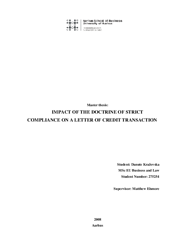 Pdf Impact Of The Doctrine Of Strict Compliance On A Letter Of Credit Transaction Mabu Zneika Academia Edu